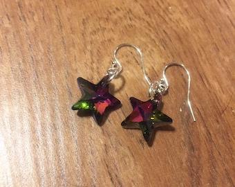 Watermelon Swarovski star earrings