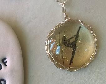 Pole dance inspired jewellery, Pole Pose Pole move pendant, pole dance necklace, glitter, gem pendant, pole jewellery