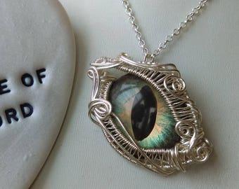 Eye pendant, Green and copper dragoneye pendant wrapped in silver plated wire, animal eye, cat eye, reptile eye, wirework