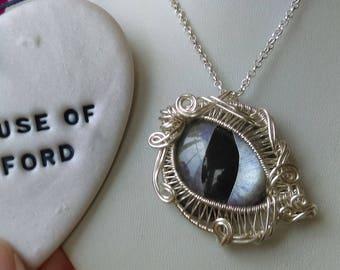 Eye pendant, Purple and silver dragoneye pendant wrapped in silver plated wire, animal eye, cat eye, reptile eye, wirework