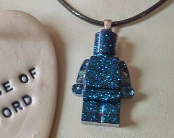 Peacock blue glittered mini figure pendant, mini figure necklace, resin mini figure, blue glitter mini figure, sparkling mini figure