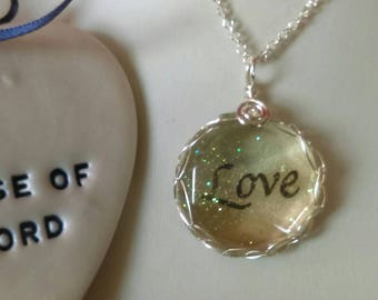 Glittered love pendant, love, sparkling love pendant, rainbow love pendant, faceted love pendant, love necklace, rainbow, colourful