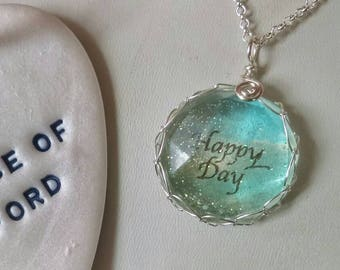 Glittered happy day pendant, happy, sparkling happy pendant, blue happy pendant, faceted happy pendant, happy necklace, blue, colourful