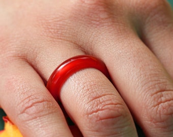 Unisex red agate  matte silver adjustable ring