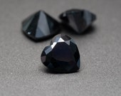 Heart Shape Black Cubic Zirconia - Various Sizes