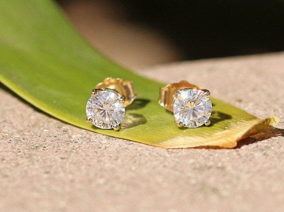 3.00 Carat Total Classic 14k Solid Gold Moissanite Studs  Authentic Moissanite  Earrings  Brilliant Round Solitaire  14k Yellow Gold