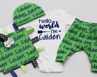 Hello world, Newborn Coming Home Outfit, Custom Printed Jersey knit Leggings, Knot Hat, headband and Shirt - CHOOSE COLOR and FONT