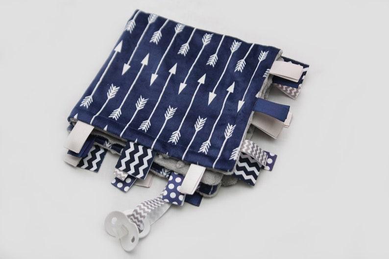 Navy and White Arrows with Grey Baby Ribbon Tag Blanket Minky Binky Blankie