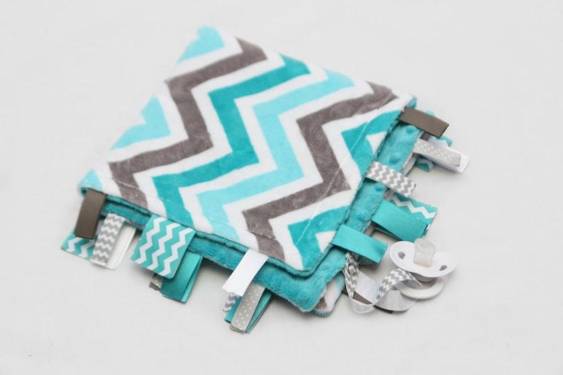 Grey and Teal Chevron MINI Baby Ribbon Tag Blanket Minky Binky Blankie