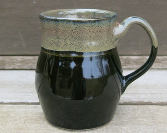 Handmade Ceramic Mug, Coffee Mug, Pottery Mug, Tea Mug, Smooth Black and Textured Gift Idea for him, Artisan Pottery by Licia Lucas Pfadt