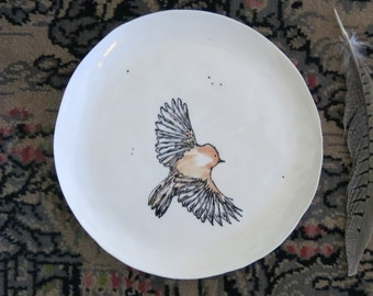 Ceramic Woodland Bird Plate Hand Drawn Fine Art Plate One of a Kind Gift Idea Home Decor, Handmade Artisan Pottery by Licia Lucas Pfadt