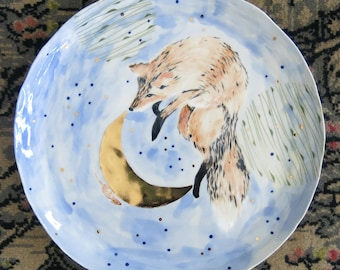 Fox and Mouse, Ceramic Art Plate White Pink Blue and Gold Woodland One of a Kind Home Decor, Handmade Artisan Pottery by Licia Lucas Pfadt