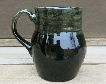 Handmade Ceramic Mug, Coffee Mug, Pottery Mug, Tea Mug, Smooth Black and Green Gift Idea for him, Artisan Pottery by Licia Lucas Pfadt