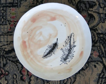 Ceramic Woodland Feather Plate Hand Drawn Fine Art Plate One of a Kind Gift Idea Home Decor, Handmade Artisan Pottery by Licia Lucas Pfadt