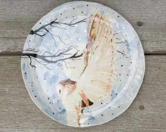 Ceramic Woodland Night Owl Hand Drawn Fine Art Plate One of a Kind Gift Idea Home Decor, Handmade Artisan Pottery by Licia Lucas Pfadt