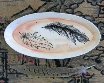 Painted Ceramic Oval Feather Tray Sushi Plate Trinket Dish Spoon Rest Soap Dish Gift Idea Home Decor, Handmade Pottery by Licia Lucas Pfadt