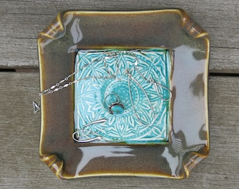 Turquoise Ceramic Trinket Dish Sunflower Mandala Spoon Rest Floral Image in Aqua Blue Green and Brown, Handmade Pottery by Licia Lucas Pfadt