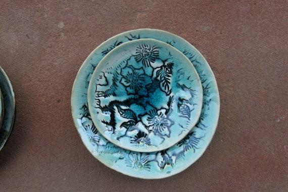 Decorative Soap Dish Floral Handmade Ceramic Ring Dish
