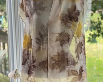 Eco-Print silk scarf