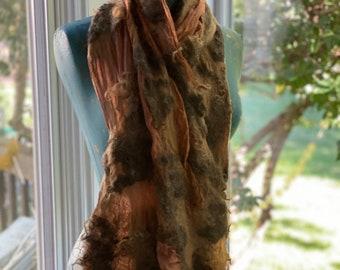 Nunofelt silk and wool locks scarf/wrap.