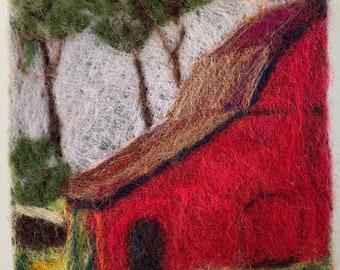 Red barn needlefelt wool painting.