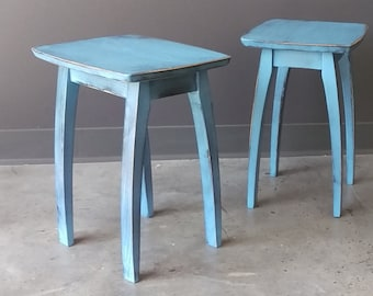 """17"""" Accent Table with Blue Distressed Finish"""