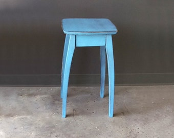 """22"""" Side Table with Blue Distressed Finish"""