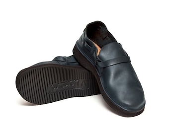 Men's NAVY Handmade Leather Shoes