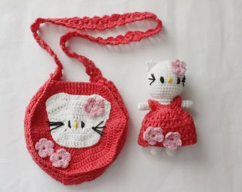 Amigurumi Toy   Bag - Amigurumi Kitty Set - Small Girl s Bag - Toddler  Girl s Bag - Children s Purse With Cat - Purse With Cat 525f1c4b6