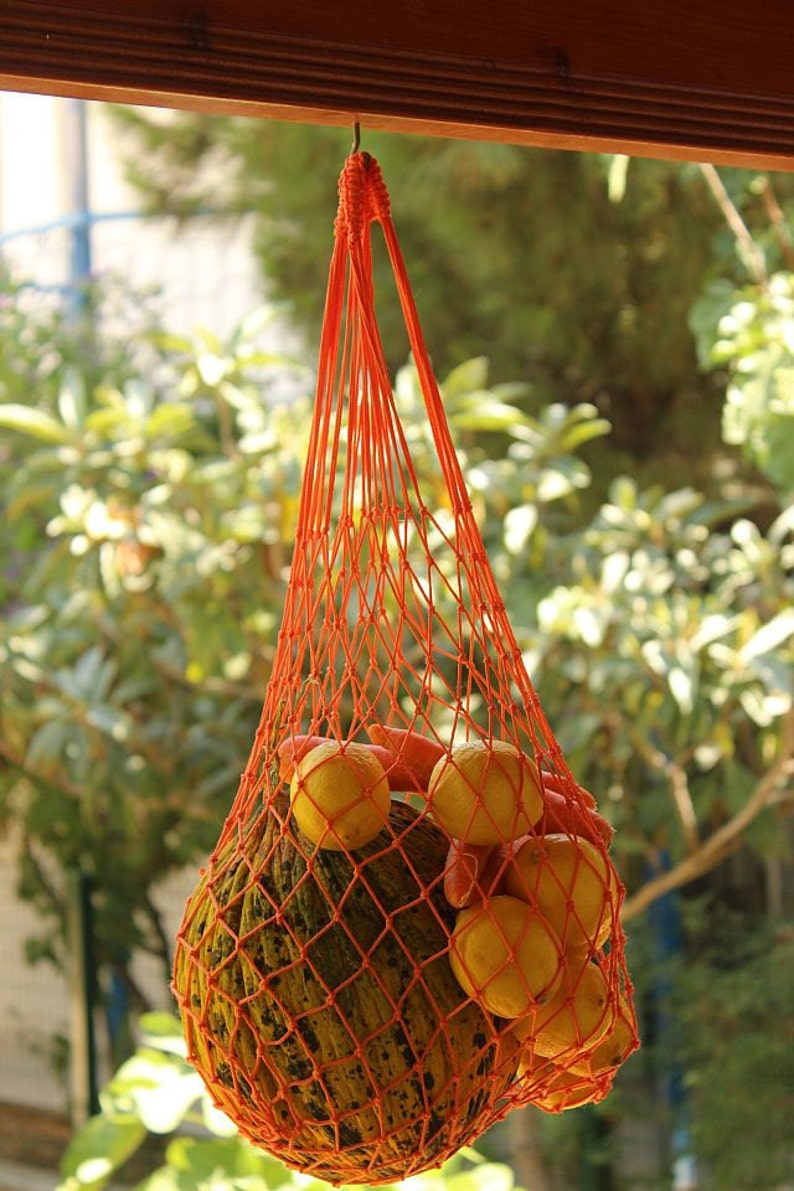 Reusable Eco-Friendly Bag Shopping Bag Classic Tote Retro Fishnet Handmade Market  Bag Market Tote Bag Orange String Bag