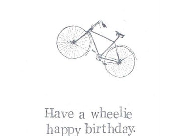 Have A Wheelie Happy Birthday Funny Bike Card | Vintage Bicycle Humor Biking Pun