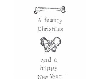 a femury christmas and hippy new year card funny anatomy science medical humor happy holidays geeky gothic doctor nurse