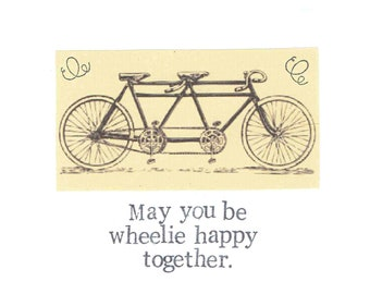 May You Be Wheelie Happy Together Tandem Bicycle Wedding Card | Wedding Congratulations Elopement Funny Engagement Card Vintage Bike Humor