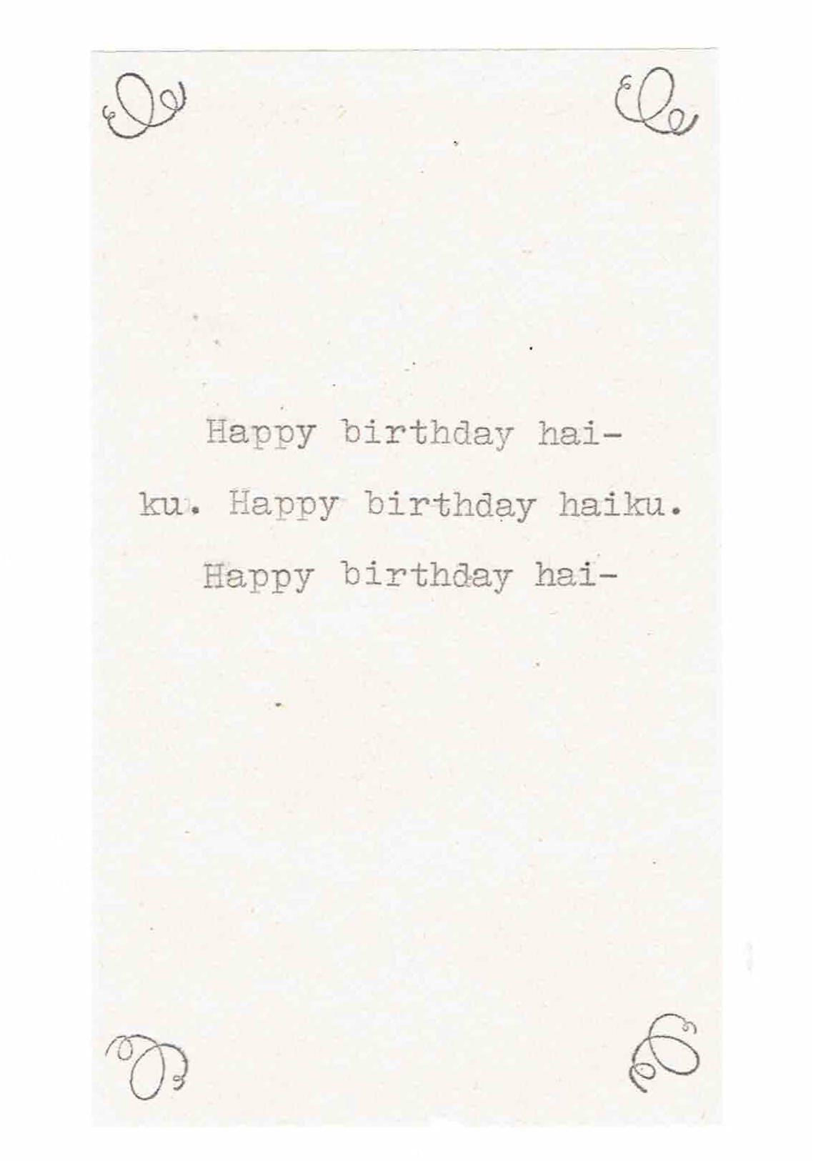 birthday haiku Happy Birthday Haiku Card Funny Birthday Card Poetry Writer | Etsy birthday haiku