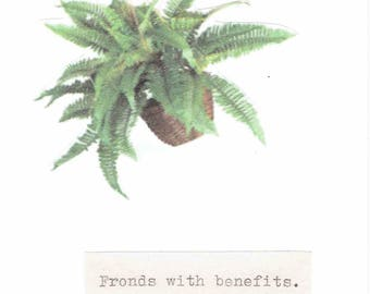 Fronds With Benefits Fern Plant Card | Funny Get Well Soon Card Gardening Humor Botanical Pun Nature Friendship