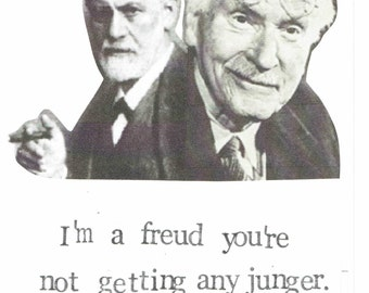 Freud Jung Birthday Card | Funny Psychology Happy Birthday Witty Nerdy Pun Psychoanalysis Humor Counsellor Counselling Therapist Aging Old