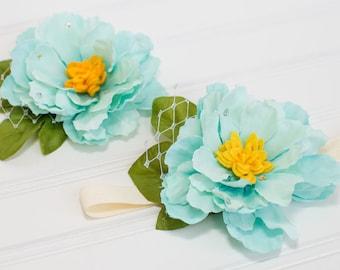 Blue Silk Peony Flower, Blue Peony Hairbow, Turqoise Flower Headband, Turqoise Flower Hair Clip