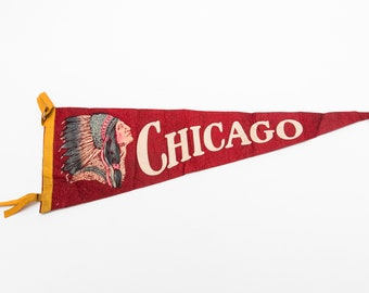 University of IL Illinois Pennant Shaped Antique Paper Luggage Sticker Label