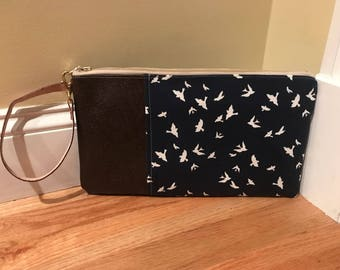 Navy Bird Pattern w/Brown Leather Wristlet
