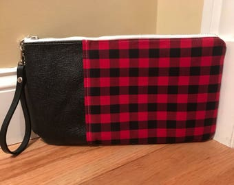 Red and Black Buffalo Plaid w/Black Leather Wristlet