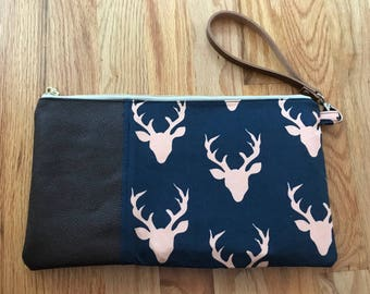 Genuine Leather and Cotton Wristlet/Clutch