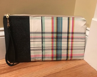 Colorful Plaid w/Black Leather Wristlet
