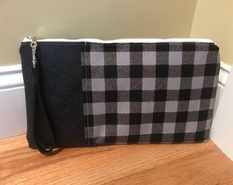 Black and Gray Flannel Pattern w/Black Leather Wristlet