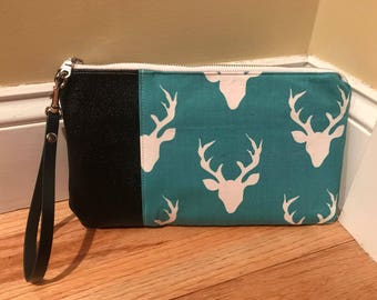 Smaller Teal and Orange w/Black Leather Wristlet