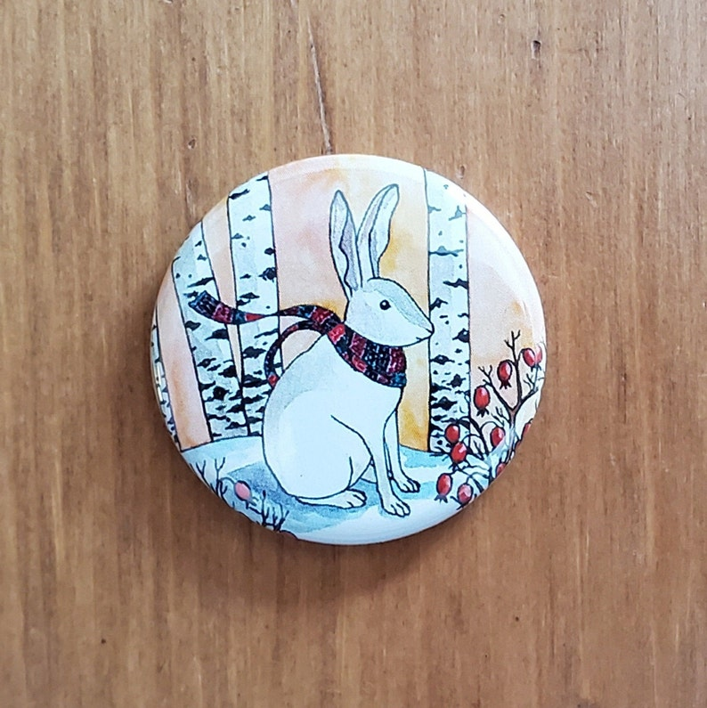 White Rabbit dressed for Winter Art Magnet or Pin-Back Button 1.25