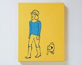 Custom Portrait of You and Your Pet - Acrylic Painting on Canvas or Wood - Modern, Graphic, Outline Style