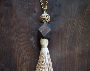 Wood + Tassel Pendant Necklace