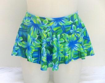 Girls Child Gymnastics Ballet Dance Ice Skating Sab Skirt Green Blue Flower Hawaiian by Elegant Sportswear