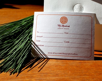 Jewelry Gift Certificate - 150 USD - Free Shipping