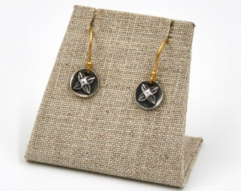 Fine Silver Round Tribal Four Leafed Pattern Earrings with 14K Gold Vermeil Ear Wires